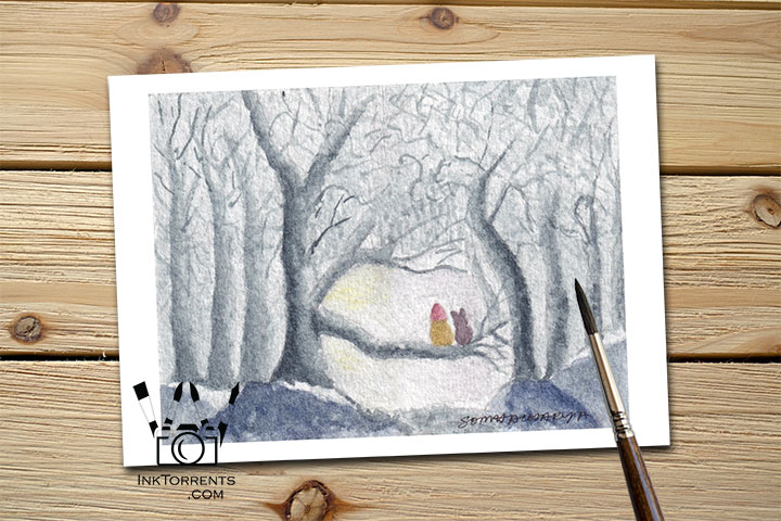 Anticipation - The Girl And Her Cat waiting in anticipation in the forest Art Print Greeting Card by @ InkTorrents.com by Soma