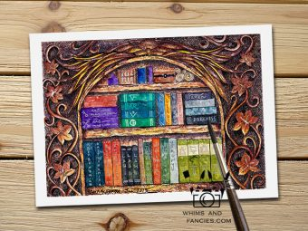 Wizard Magician's Bookshelf fantasy story art print InkTorrents Graphics Soma Acharya