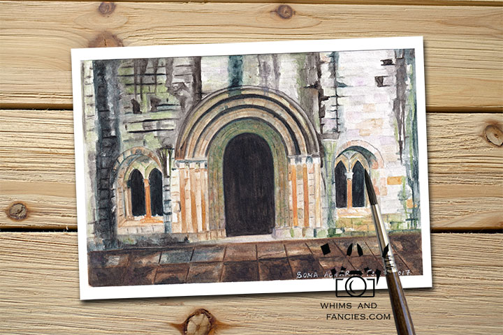 Weathered Scottish Abbey Ruin Historic Scotland and England art print InkTorrents Graphics Soma Acharya