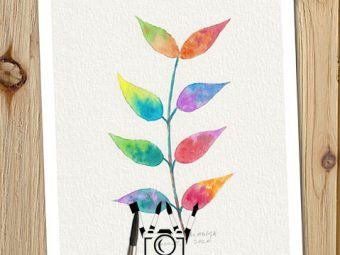 Fairy Leaves print InkTorrents Soma Acharya Children story Reading art print Fantasy print Nature art print Greeting Card Whims And Fancies
