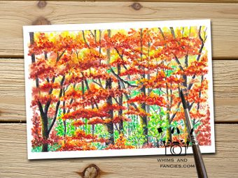 Inktorrents Shop Greeting Card Soma Acharya Autumn Forest Walk Whims And Fancies Print Yosemite art Print Fall leaves print Autumn Colors Print