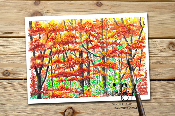 Inktorrents Shop Greeting Card Soma Acharya Autumn Forest Walk Print Yosemite art Print Fall leaves print Autumn Colors Print Whims And Fancies