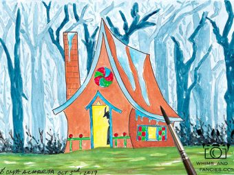 Fairy Tale Gingerbread House children story art print InkTorrents Graphics Soma Acharya