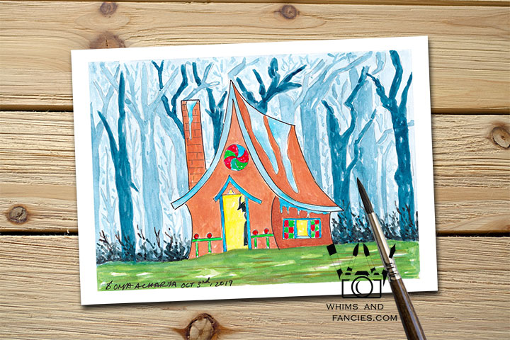 Fairy Tale Gingerbread House print Children story Reading art print Book lover gift Bookworm gift Literary gift Library art Fantasy print