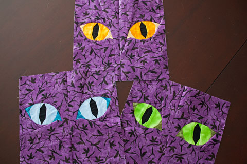 Halloween Cat Eyes quilt pattern Shop Whims And Fancies Soma Acharya