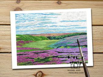 Yorkshire Moors Field Of Heather art print InkTorrents Graphics Soma Acharya travel Nature Wildflowers print English landscape Scotland landscape print Whims And Fancies