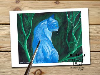 Midnight Cat print InkTorrents Soma Acharya Children story Reading art print Fantasy print Nature art print Whims And Fancies