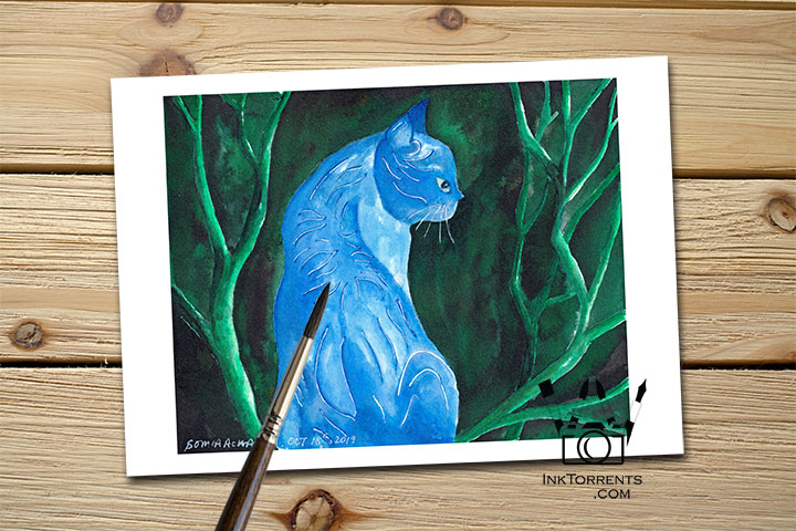 Midnight Cat print InkTorrents Graphics Soma Acharya Children story Reading art print Fantasy print Nature art print Whims And Fancies