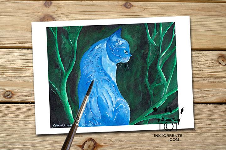 Midnight Cat print InkTorrents Soma Acharya Children story Reading art print Fantasy print Nature art print Whims And Fancies