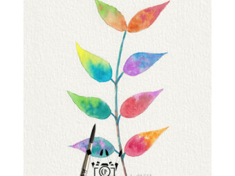 Fairy Leaves print InkTorrents Soma Acharya Children story Reading art print Fantasy print Nature art print Whims And Fancies