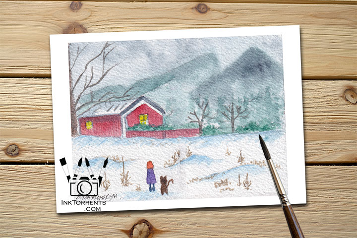 Red Inn - The Girl And Her Cat stopping by for some rest Art Print Greeting Card by @ InkTorrents.com by Soma