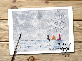 The Girl And Her Cat - Snow Day Plans Art Print Greeting Card @ Inktorrents.com