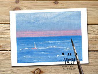Summer Sailing Scotland and England Landscape art print InkTorrents Graphics Soma Acharya