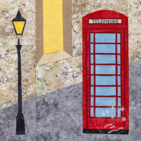 Red Telephone Box quilt pattern British telephone booth Shop Whims And Fancies Soma Acharya