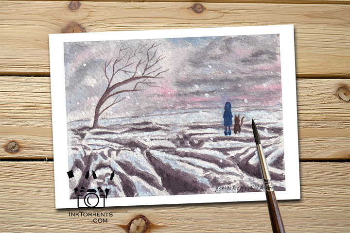 Wild Child - The Girl And Her Cat are at Yorkshire Moors Malham Cove Art Print Greeting Card by @ InkTorrents.com by Soma