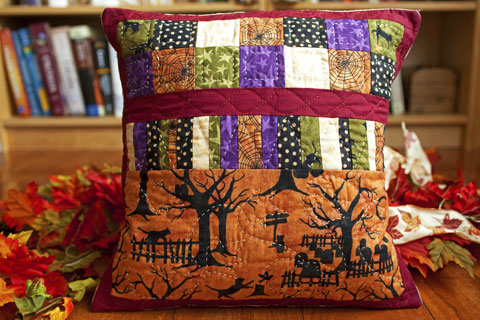 Black Cat Crossing Fall Halloween Pillow