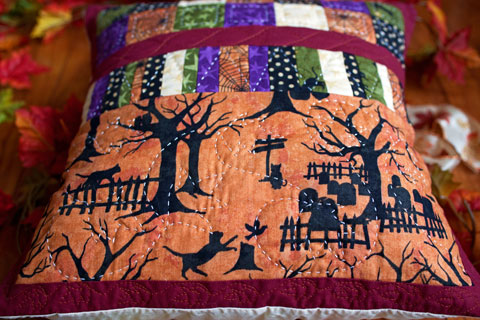 Black Cat Halloween Patchwork Quilted Pillow