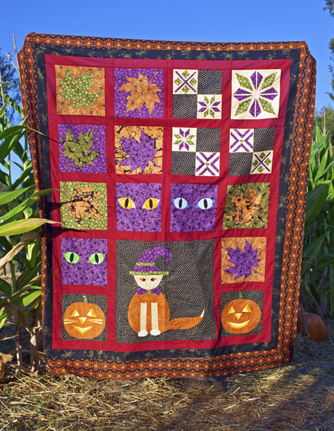 Black Cat Crossing Halloween Quilt Top