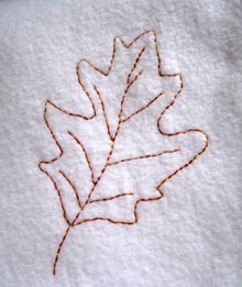 red oak leaf embroidery