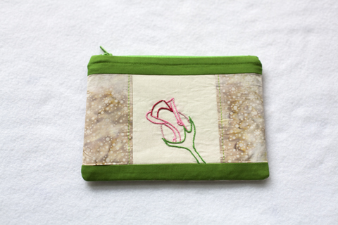 Pouch with Rose embroidery - pattern