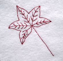 Sugar gum leaf embroidery