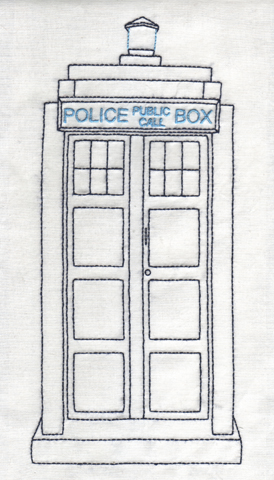 Schematic drawing of Tardis with embroidery