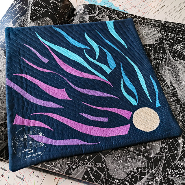 Comet Speeding Through Space - Art quilt inspired by nature and science. Quilted And Painted Fabric with Liquitex acrylic – Whims And Fancies