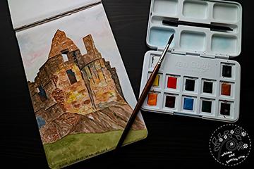 Scotland Crumbling Castle Watercolour Painting