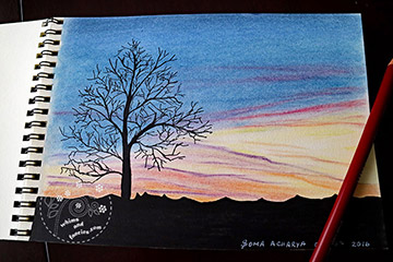 Tree Silhouette At Sunset Derwent Pastel Pencils Painting