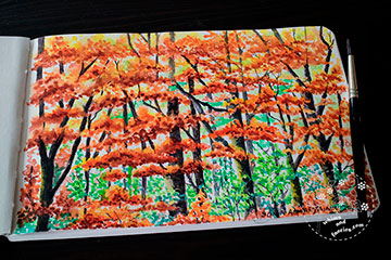 Autumn Forest with acrylic ink / watercolour Painting