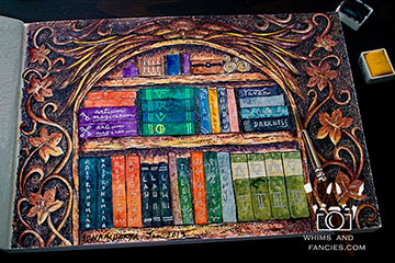 Magician's Alchemy Bookshelf watercolour painting