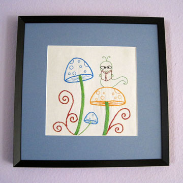 Mushroom Bookworm Embroidery Pattern