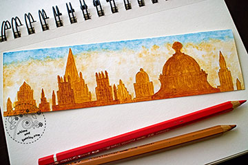Oxford Skyline Watercolour Painting