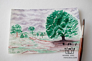 Rainy Day In the Park Watercolour Painting with Tombow Markers