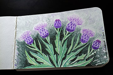 Scottish Thistles Watercolour Painting