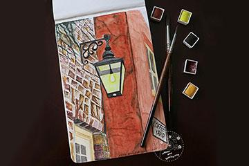 York Streetlight Watercolour Painting