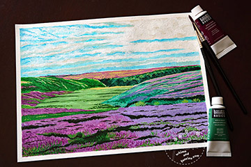 Heather In Yorkshire Moors Acrylic Painting