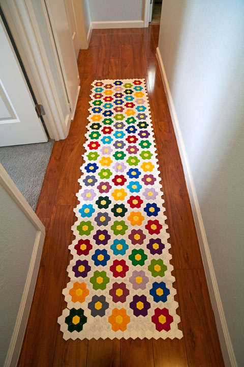 Queen Size Hexagon Flower Quilt