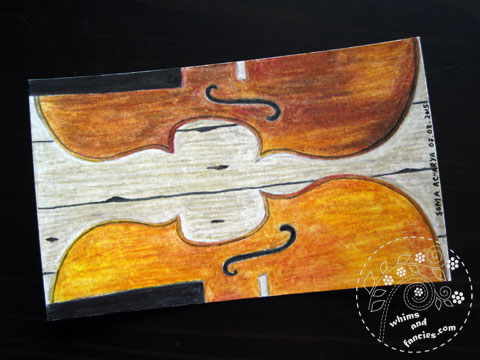 Violin Drawing In Prismacolour Pencils | Whims And Fancies