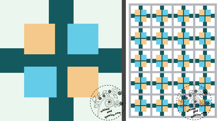 Squares Plus Quilt Pattern | Whims And Fancies