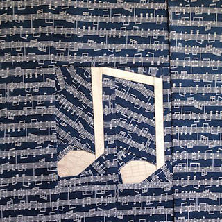 Music Notes Quilt Pattern. Block made by featheredneststudio | Whims And Fancies