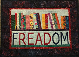 FREADOM Read Books Quilt Pattern. Wall hanging made by Elizabeth Plantz | Whims And Fancies