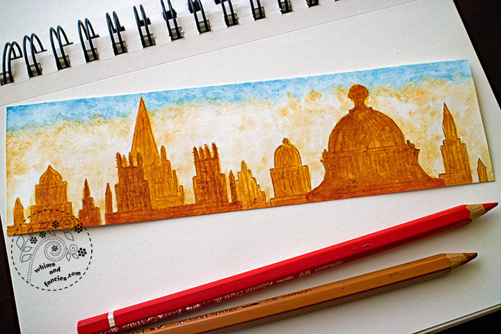 Oxford Skyline Watercolour Painting Bookmark | Whims And Fancies