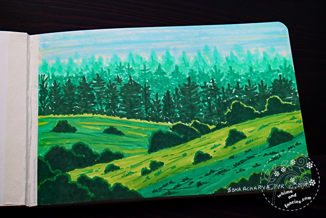 Copic Marker Landscape Painting | Whims And Fancies