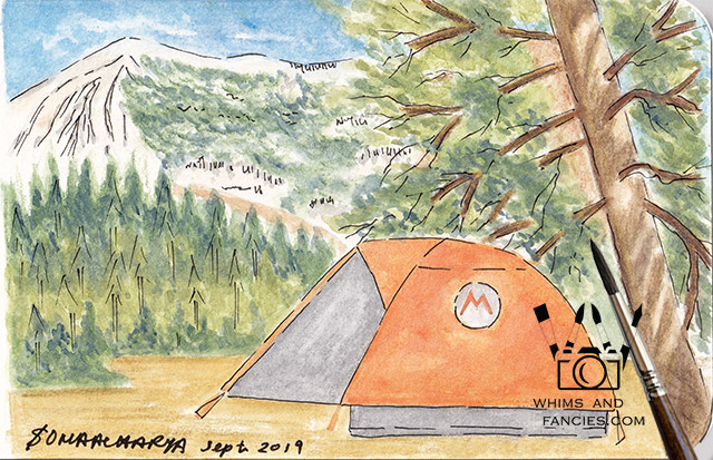 Camping At The High Sierras Watercolour Painting | Whims And Fancies