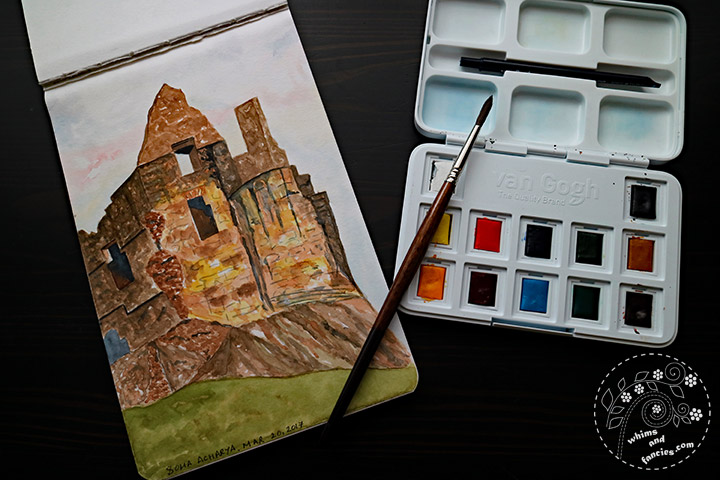 Crumbling Stone Castle Watercolour Painting | Whims And Fancies