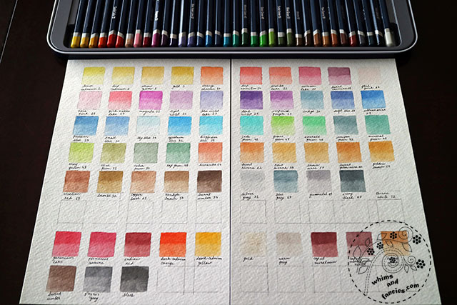 Derwent Watercolour Pencils Shade Card | Whims And Fancies