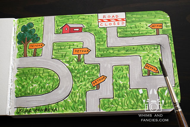 Sketchbook page - GPS Error | Whims And Fancies