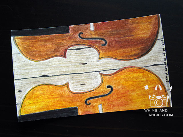 Violin In Colour Pencil | Whims And Fancies