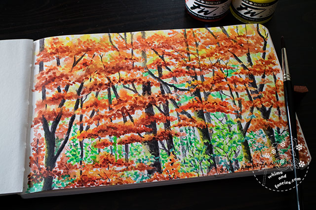 Autumn Forest Trees Painted With FW Acrylic Inks | Whims And Fancies